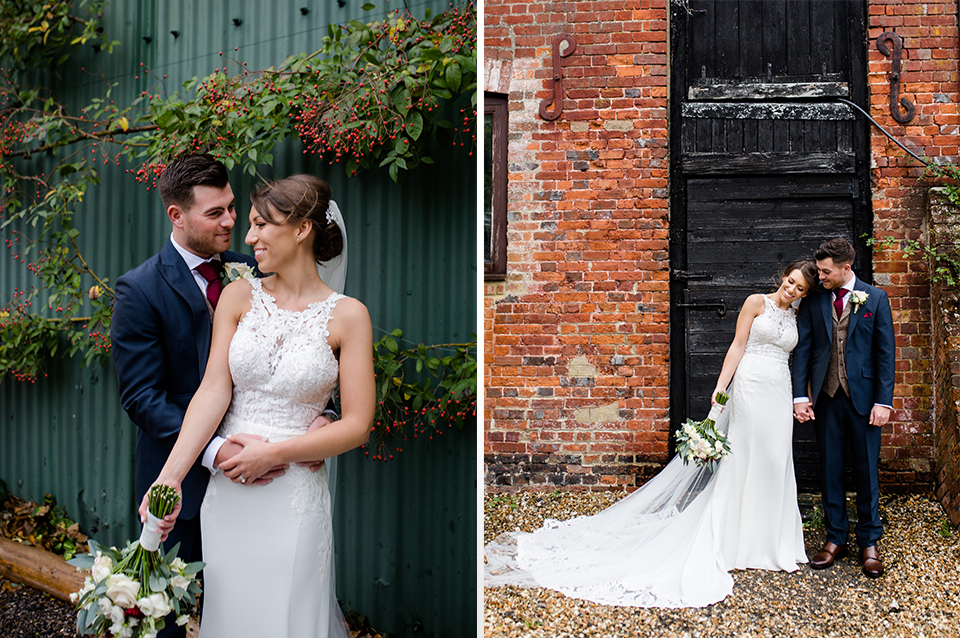 The bride and groom pose for their wedding photos at their rustic wedding in Hampshire