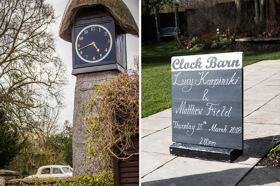 The clock tower at Clock Barn offers great wedding photo opportunities and a chalk wedding sign welcomes guests