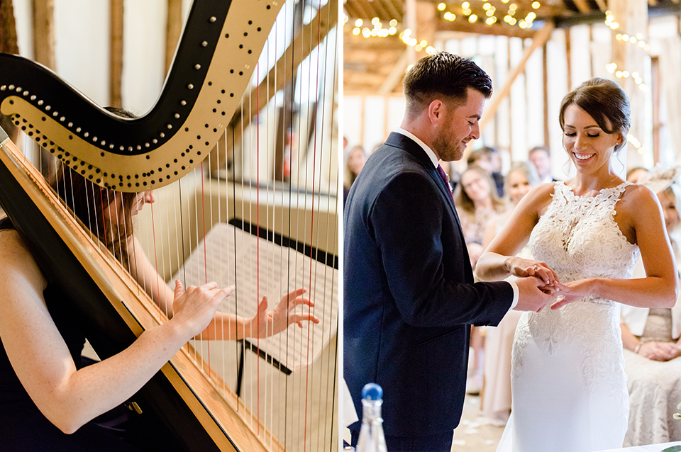 A harp played as the bride and groom said their vows at their wedding ceremony at Clock Barn in Hampshire