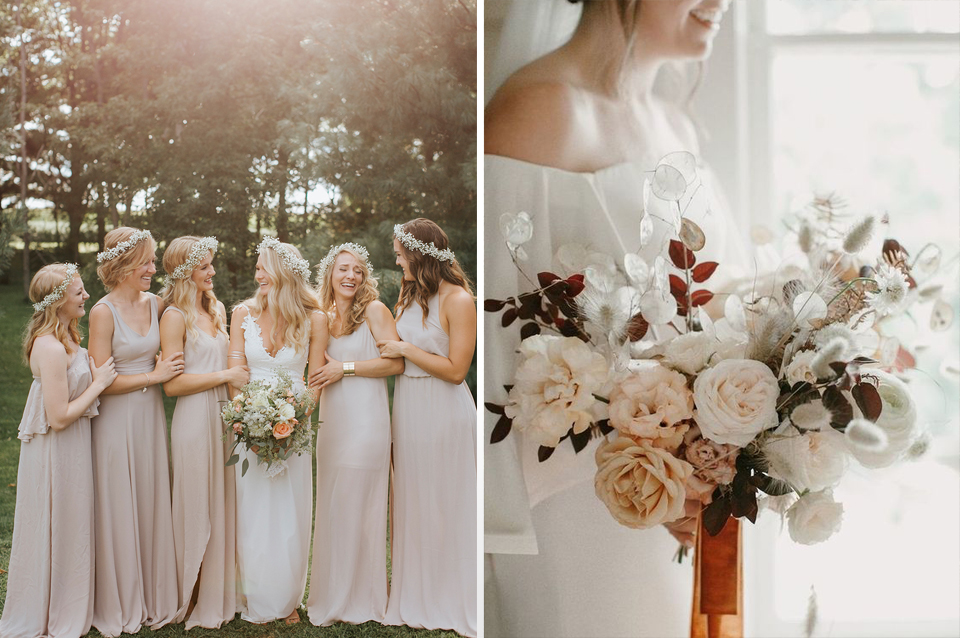 Opt for soft neutrals for classic elegance at your rustic barn wedding at Clock Barn in Hampshire