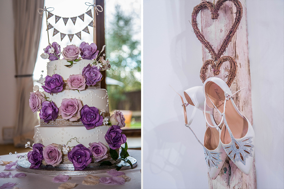 The white iced wedding cake was decorated with pretty purple roses and a mini bunting topper and the bride's t-bar wedding shoes had a touch of sparkle at Clock Barn