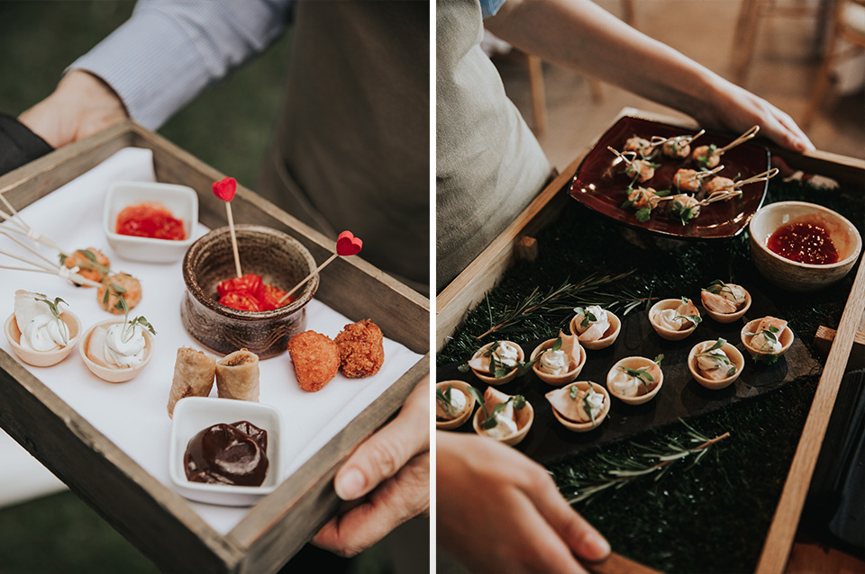 Delicious canapes were served by Galloping Gourmet at this spring wedding at Clock Barn