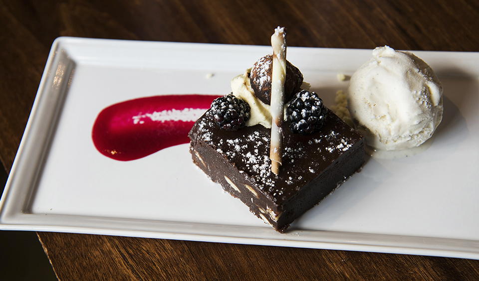 A delicious chocolate brownie pudding served by Galloping Gourmet at Clock Barn in Hampshire