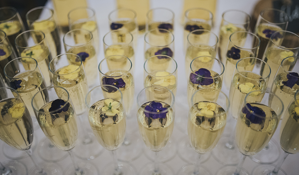 Elderflower sparklers were served at the drinks reception at this wedding at Clock Barn in Hampshire