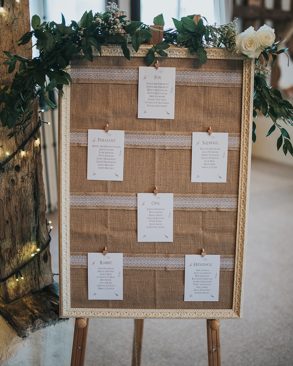 The couple chose a rustic table plan with floral decorated for their barn wedding in Hampshire