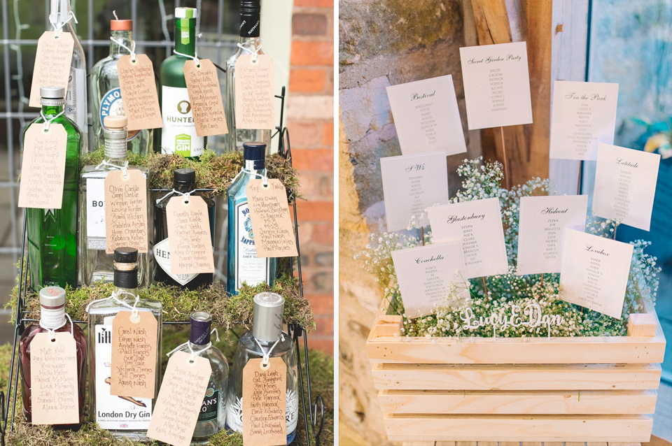 This couple chose bottles of their favourite tipple to display their seating plan at Clock Barn in Hampshire