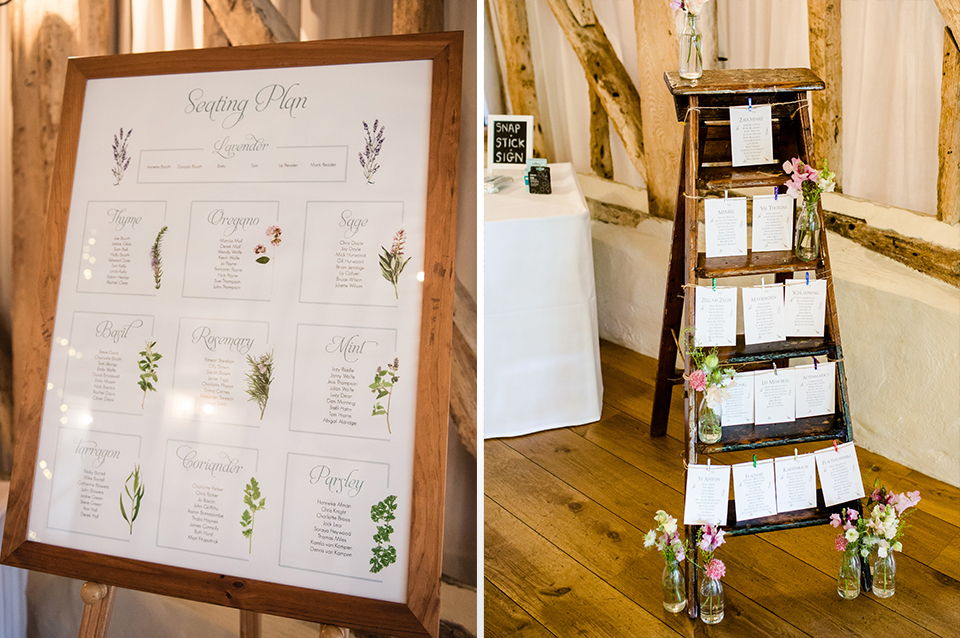 These floral seating plans are perfect for a rustic barn wedding at Clock Barn in Hampshire