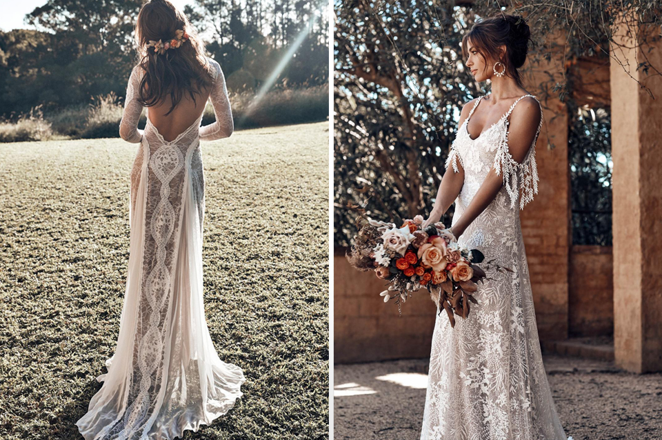 Boho style lace wedding dresses are perfect for a rustic barn wedding at Clock Barn in Hampshire
