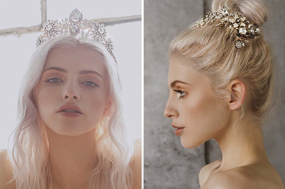 These embellished headpieces are a great choice if you want to add a touch of sparkle to your bridal wear for your rustic wedding at Clock Barn