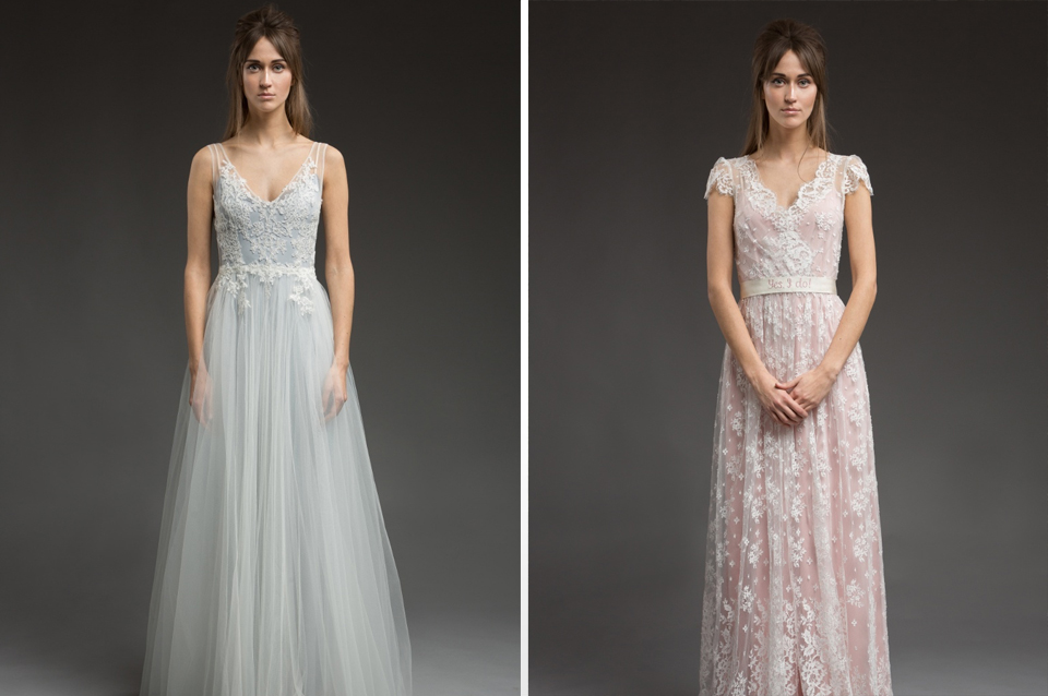 These elegant lace dresses are perfect for a rustic barn wedding at rural wedding venue Clock Barn