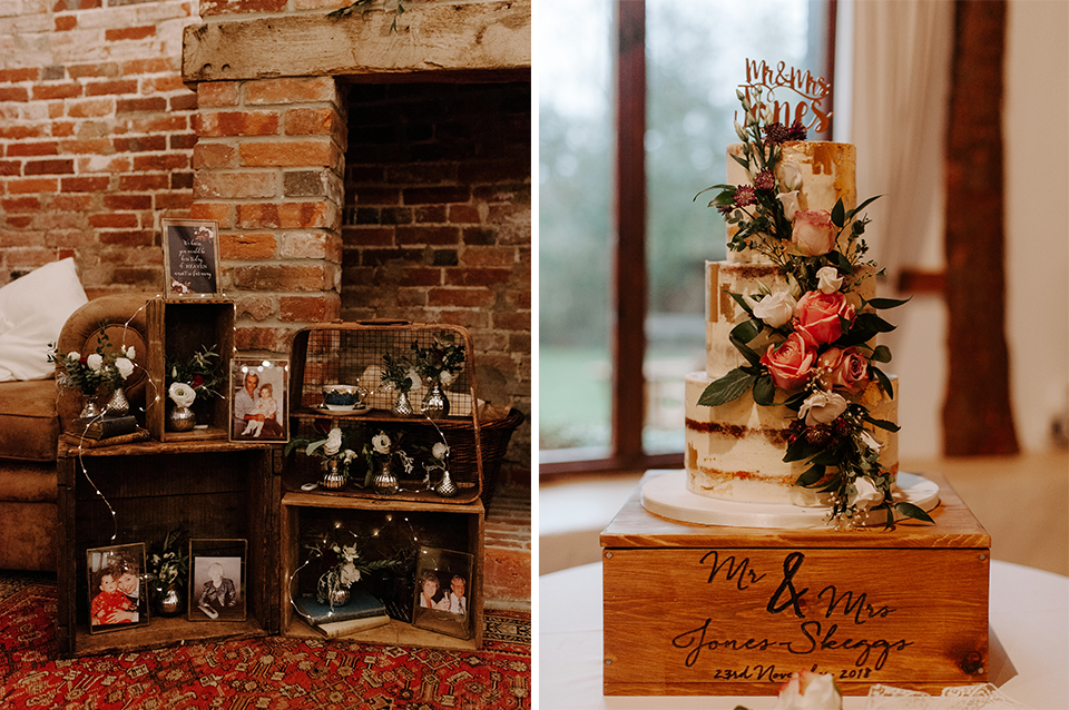 The couple displayed old photos and other decorative items on wooden crates and the wedding cake was a three-tiered rustic semi-naked cake at Clock Barn