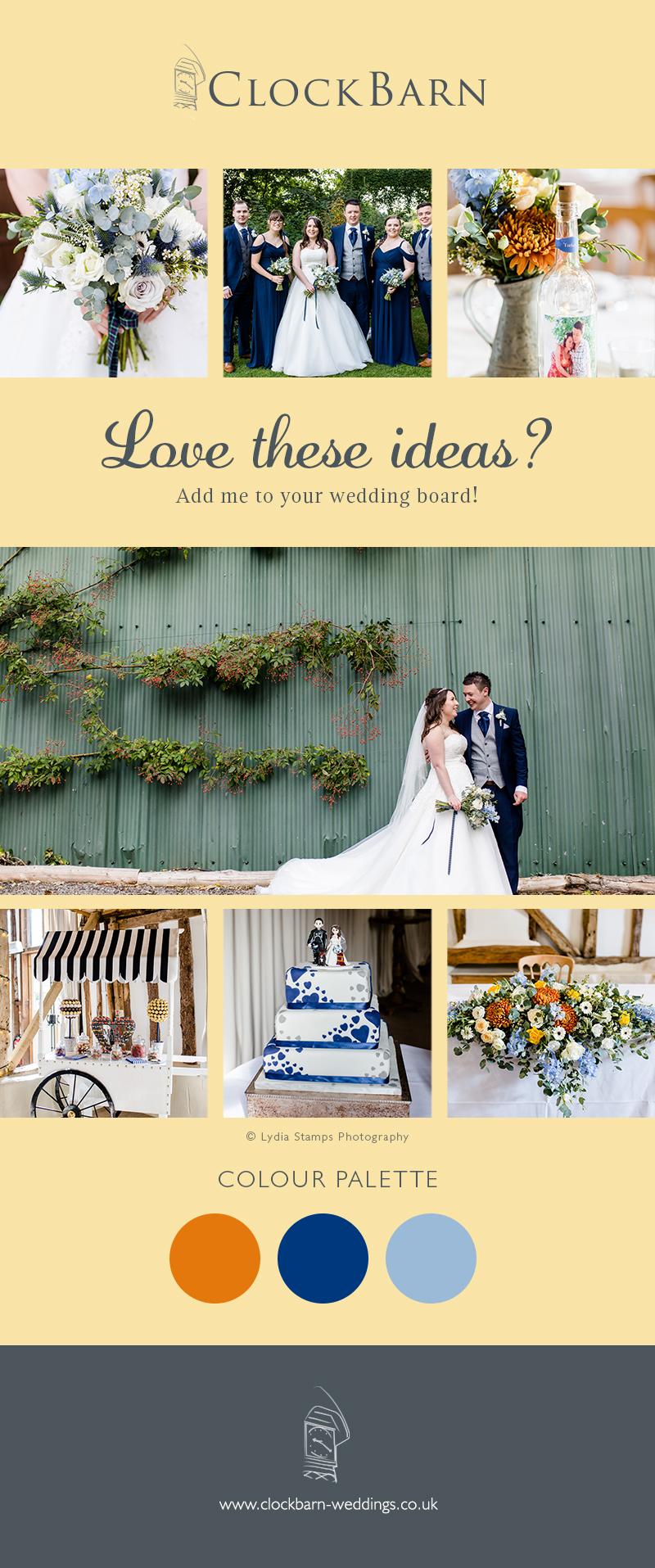 Emma and Joe's real life wedding at Clock Barn