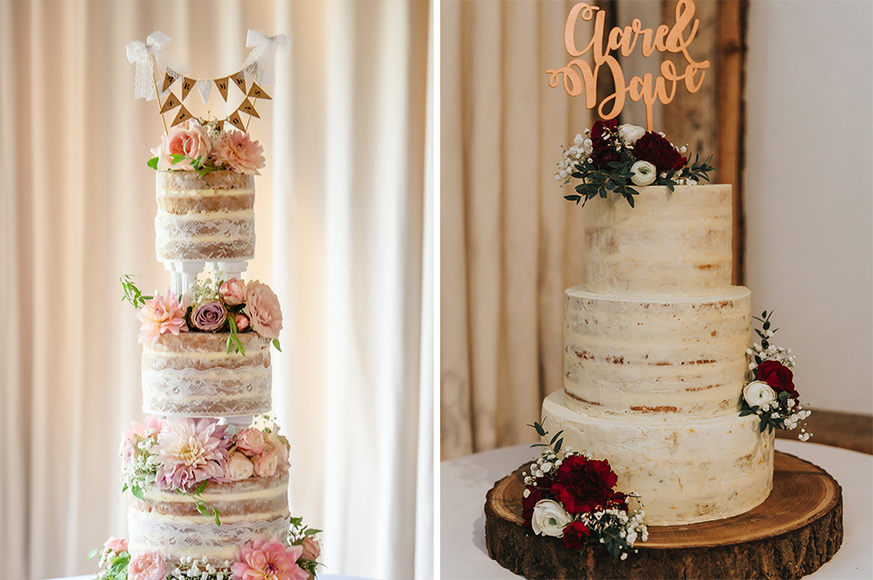 Personalised wedding cake toppers are a great finishing touch to naked and semi-naked wedding cakes