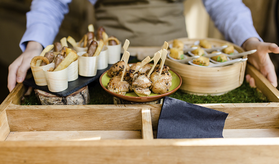 Delicious canapes were served at this barn wedding in Hampshire