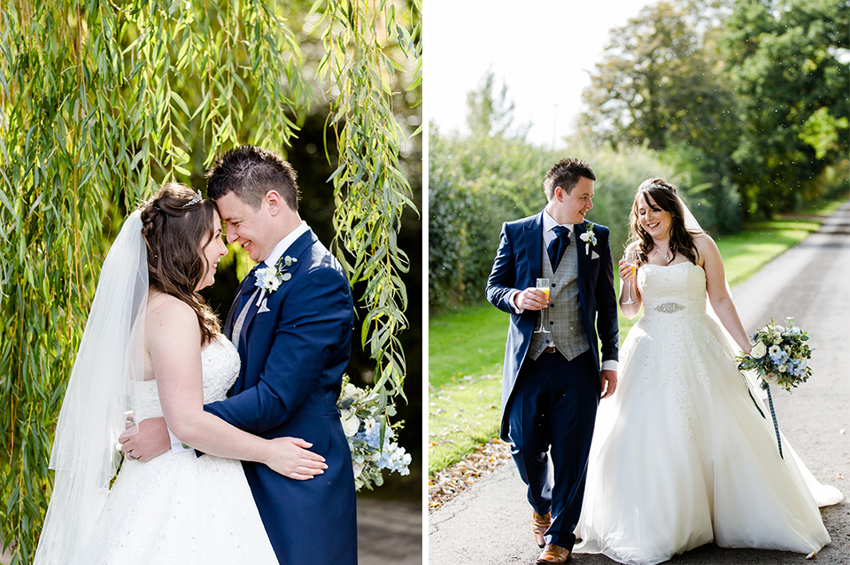 The happy newlyweds take a stroll down the drive of this rural wedding venue in Hampshire