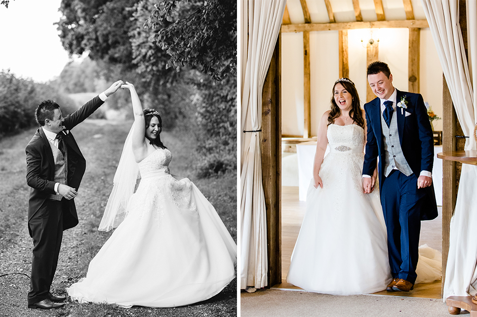 The happy couple enjoy their wedding day at Clock Barn in Hampshire