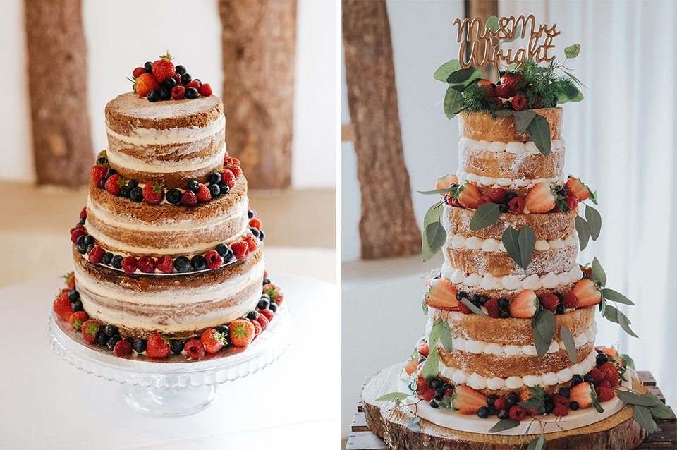 These naked wedding cakes are perfect for a rustic wedding at Clock Barn in Hampshire