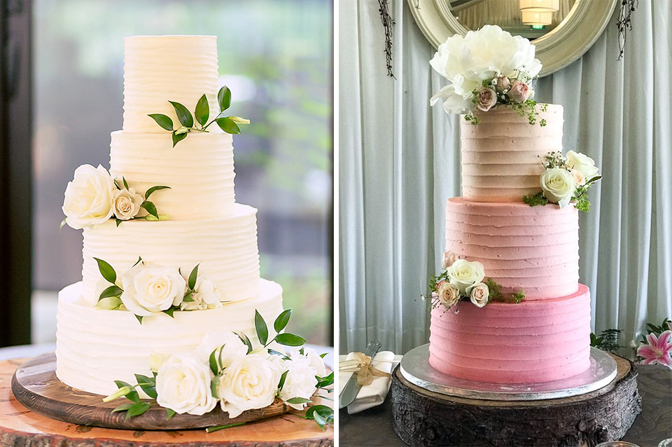 These soft iced wedding cakes look perfect decorated with fresh flowers and are perfect for a summer barn wedding