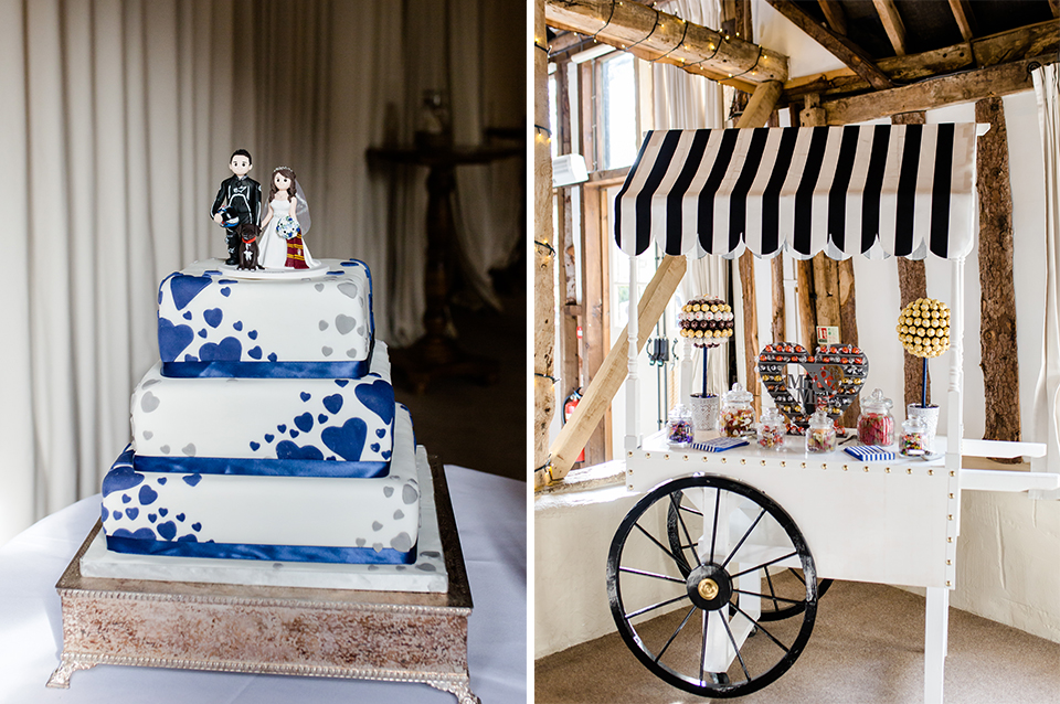 The wedding cake was decorated with blue hearts and sweet treats were available for guests to enjoy