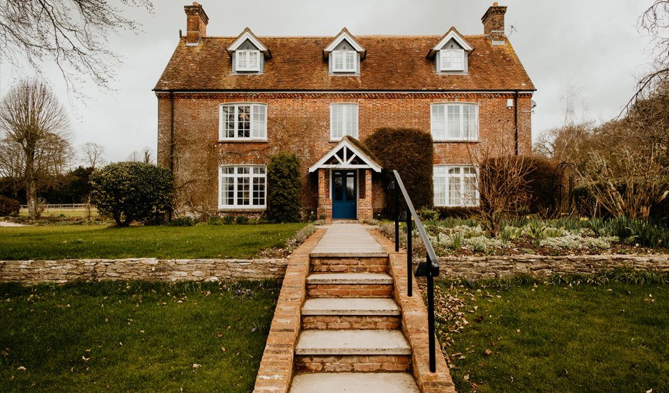The farmhouse wedding accommodation at Clock Barn wedding venue In Hampshire
