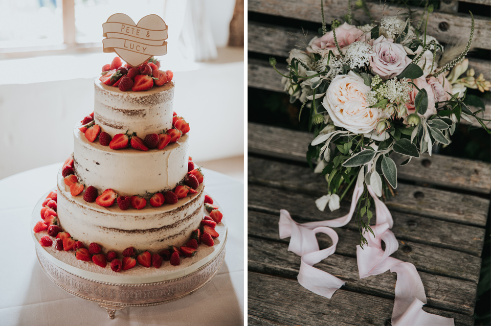 A three tier semi-naked wedding cake and a beautiful bouquet of pale pink wedding flowers